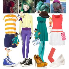 Phineas and Ferb Costume ideas. by indie-psycho on Polyvore featuring art, phineas and ferb, costume, halloween and perry the platypus