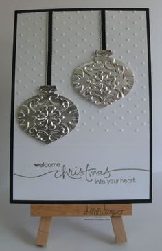 Silver-Foil-Bauble Sets: Heard From The Heart Cardstock: Basic Black, Whisper White Ink: Versamark Punches: Ornament Punch Accessories: Aluminum Foil, Adhesive Sheets, Vintage Wallpaper & Perfect Polka Dots Embossing Folders, Basic Black T Homemade Christmas Cards, Christmas Cards To Make, Xmas Cards, Diy Cards, Homemade Cards, Holiday Cards, Winter Cards, Tarjetas Stampin Up, Stampin Up Cards