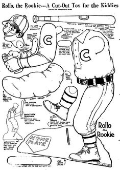 Rollo the Rookie - He's moveable! 1920's, from the Junior section of the L.A. Times.