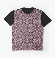 Decorative Arabesque Pink and Black graphic tshirts by ironydesigns  Available as Men's Apparels, Home Decors, Leggings, Pencil Skirts, Scarves, Drawstring Bags, and Stationeries