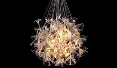 Chandelini - Chandelier made of martini glasses.  By Touch Design Studio