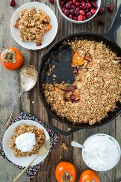 Cranberry Persimmon Crisp with Vanilla Bean Topping  |  Keepin' It Kind