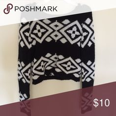 Cropped tribal sweater Black and white tribal print sweater. Cropped for style with soft and comfortable material. Rue 21 Sweaters