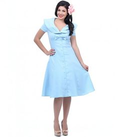 We dream of Jeannie! An elegant vintage-inspired swing dress complete in a lavish light blue with a dash of stretch. Boa...Price - $82.00-gG3TfPKW