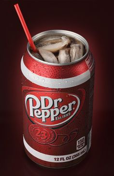 composite image between an actual glass and a can with a blended background. Dr Pepper Can, Soft Drink, Beverages, Drinks, Soda, Stuffed Peppers, Canning, Image, Drinking