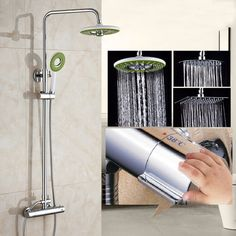 92.30$  Watch here - http://alixsr.worldwells.pw/go.php?t=32767133865 - Chrome Polished Rainfall Solid Brass Shower Bath Thermostatic Shower Faucet Set Mixer Tap With Double Hand Sprayer Wall Mounted