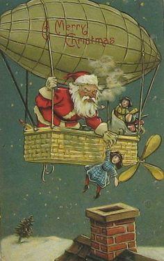 Antique Santa Postcard with Airship