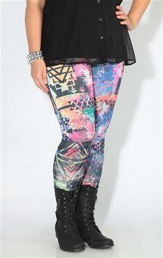plus multicolor tribal legging