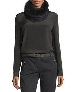 Loro Piana Baby Cashmere Fur-Trim Courchevel Collar, $1150