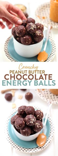 Looking for a healthy and easy snack? Look no further than these crunchy peanut butter chocolate energy balls made with just 4 ingredients #peanutbutter #energyballs