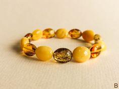 White yellow and green amber bracelet for women elastic | Etsy