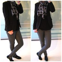 H outfit/ Oh So HIP skull scarf/ Zara shoes