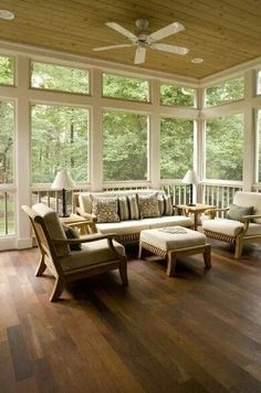 Screen porch, an outdoor extension of the living room.