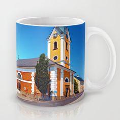The village church of Alberndorf in der Riedmark 2 Coffee Mug by patrickjobst Ceramic Mugs, Coffee Mugs, Custom Design, Tableware, Pottery Mugs, Dinnerware, Ceramic Cups, Coffee Cups, Tablewares