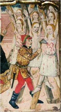1464. Martirio de siete mujeres, Retablo de San Blas, Martín de Soria, Iglesia de San Salvador, Luesia, Zaragoza  (detalle)