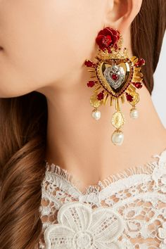 Dolce & Gabbana|Sacro Cuore gold and silver-plated, Swarovski crystal and faux pearl clip earrings|NET-A-PORTER.COM