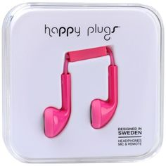 Happy Plugs Headphone ($40) ❤ liked on Polyvore featuring headphones, accessories, fillers, electronics, phone, fuchsia and magazine