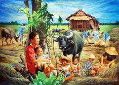 Carabao with kids Philippine Mythology, Philippine Art, Watercolor Landscape Paintings, Landscape Art, Watercolor Art, Indian Art Paintings, Nature Paintings, Filipino Art, Color Pencil Sketch