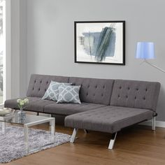 DHP Emily Grey Linen Convertible Futon - Overstock™ Shopping - Great Deals on DHP Futons