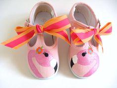 Chicas T flamenco zapatos, lienzo de algodón pintado de color rosa a mano para bebé o niño pequeño