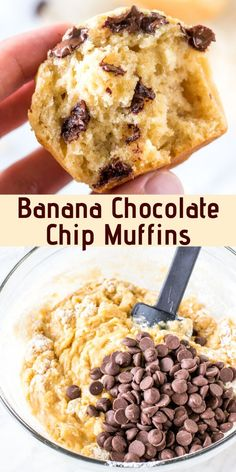 Better than banana bread - these Banana Chocolate Chip Muffins are ridiculously soft with big banana flavor and tons of melted chocolate chips. from Just So Tasty Banana Chocolate Chip Muffins, Melting Chocolate Chips, Chocolate Chip Recipes, Banana Recipes, Melted Chocolate, Snack Recipes, Banana Bread, Dessert Recipes, Banana Brownies