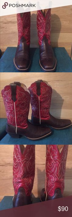 ARIAT western boots Sz 7 1/2 ARIAT style 10011890 women's Sz 7 1/2 ARIAT round up square toe & cowboy heel western boots. Red full grain leather upper, washed brown full grain leather foot. Synthetic mesh lining that will keep your feet cool. Paid $150.00...(see pics) Ariat Shoes