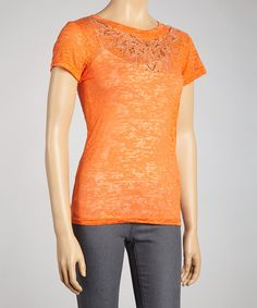 Take a look at this Orange Rhinestone Burnout Short-Sleeve Top by Sweet Girl on #zulily today!