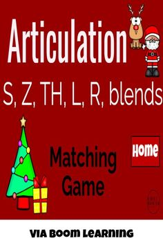 Make articulation practice FUN and ENGAGING with this Christmas themed matching game! This deck features the following phonemes: S, Z, TH, L, prevocalic R, vocalic R, S blends, L blends, and R blends - all in initial, medial, and final positions!Easily modify to the phrase/sentence level by adding in your carrier phrase or sentence at the top in the fill-in-the-blank spot! Articulation Therapy, Articulation Activities, Speech Therapy Activities, Phonological Disorder, Phonological Processes, Learning Sites, Matching Games, Speech And Language, Teacher Resources