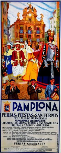 *SPAIN ~ Poster from the famouse Pamplona bull race festival in San Fermin, Spain, Poster Ads, Poster Prints, Art Print, San Fermin Pamplona, European Festivals, Running Of The Bulls, Illustrations Vintage, Biarritz, Basque Country