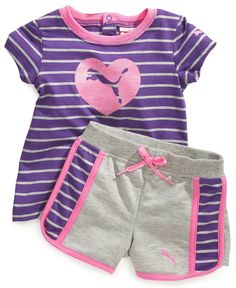 Puma Baby Set, Baby Girls Striped Tee and Shorts - Kids Baby Girl months) - Macy's Toddler Outfits, Boy Outfits, Baby Girl Fashion, Kids Fashion, Girl Dress Patterns, Toddler Girl, Baby Girls, Baby Kids Clothes, Kids Wear