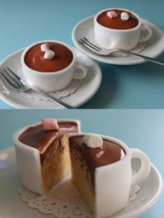 No mold needed, just cut a strip of rolled fondant and wrap it around the cupcake, then make a handle, let it harden, add a little chocolate glaze and marshmallows on top.