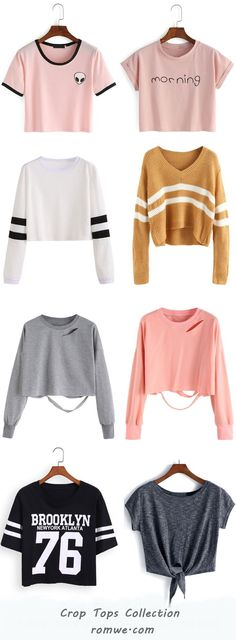 Crop Tops Collection - romwe.com los top es una buena opcion q deberia haber en tu close poq combina con todo y te da on tocq de angelical , linda ese lado tierno q a los hombres le gusta y ese lado salvaje de atrevida