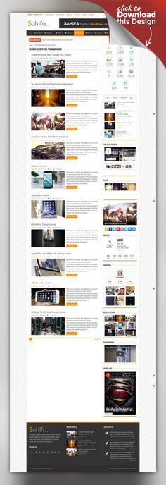 Sahifa - Responsive WordPress News / Magazine / Blog Theme blog, buddypress, magazine, mega menus, news, newspaper, patterns, rating, reviews, rtl, shortcodes, slider, widgets, woocommerce, wpml Sahifa News Theme is a clean, modern, user friendly, fast-loading, customizable, flexible, functional and fully responsive WordPress News, Magazine, Newspaper, and blog Theme. Sahifa – Responsive WordPress News, Magazine and B... Flat Web Design, Web Design Trends, Layout Design, Site Design, Portfolio Design, Best Website Templates, Web Inspiration, Website Themes, News Magazines