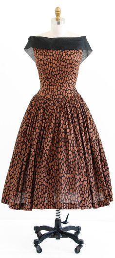 vintage 1950s black + brown organza ballerina dress | 50s party dress | http://www.rococovintage.etsy.com