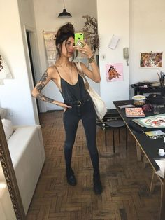 All black and tats Indie Outfits, Grunge Outfits, Trendy Outfits, Cool Outfits, Summer Outfits, Fashion Outfits, Fashion Tips, Fall Fashion, Fashion Websites