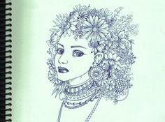 no reference blue ballpoint on green paper done during german-lecture mostly. Flowers In Hair, Flower Hair, Green Paper, Art N Craft, Deviantart, Artwork, Crafts, Craft Ideas, Beautiful