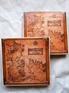 Game of Thrones Map of Westeros Tile Coaster Set, Free Shipping!