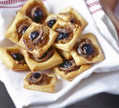 Leave the stress behind and make these mini bites the day before your party. A great canapé to impress guests, from BBC Good Food. Easy Canapes, British Bake Off Recipes, Easy Slice, Tapas, Bbc Good Food Recipes, Dinner Recipes, Yummy Recipes, Veggie Snacks, Roast Turkey Breast