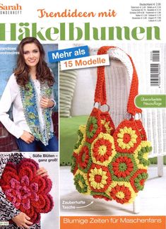 Magazine Crochet, Knitting Magazine, Crochet Books, Knit Crochet, Trends, Bago, Crochet Flowers, Straw Bag, Floral