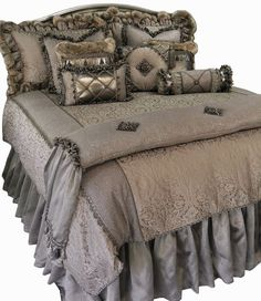 Luxury Bedding Versailles of Soft Gray and Tan Damask is combined with Metallic…