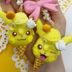 """The Spooky Seance Shop ♡ on Instagram: """"HI GUYS ♡ Today I'm coming @ you with the Flavor of the Month Pika! This month's flavor is Melted Banana Pudding Ice Cream, complete with a…"""" Banana Pudding Ice Cream, Resin Charms, Christmas Ornaments, Guys, Holiday Decor, Cake, Desserts, Shop, Instagram"""