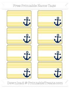 Free Pastel Light Yellow Horizontal Striped Mickey Mouse Name Tags School Themes, Classroom Themes, Classroom Organization, Nautical Names, Nautical Theme, Nautical Wedding Centerpieces, Sailing Theme, Free Label Templates, Pastel Yellow