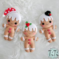 Set of three Christmas ornaments Each ornament has a loop for hanging. I can to add first name to the ornament. Set of 3 handmade felt ornaments: Gingerbread Man with black hat Gingerbread Man with holly leaves Gingerbread Man with red santa cap You can order single ornament also, just