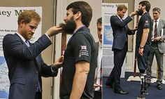 Prince Harry was seen lifting up the beard of a veteran as he gave him a medal of recognition for rowing the Atlantic, before the official ceremony at the Endeavour Fund Awards in London got under way.