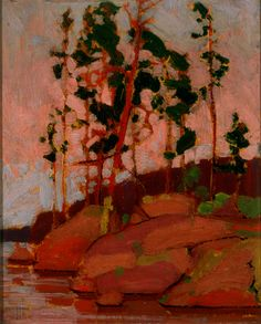 Tom Thomson: Red Pines, Little Cauchon Lake, Algonquin Park… Emily Carr, Canadian Painters, Canadian Artists, Group Of Seven Artists, Group Of Seven Paintings, Abstract Landscape, Landscape Paintings, Tom Thomson Paintings, Time Painting