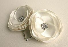 Ivory Flower Hair Clips - Wedding Flower Hair Clips - Bridal Hair Accessories. $16.00, via Etsy.