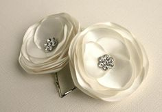 Ivory Flower Hair Clips - Wedding Flower Hair Clips - Bridal Hair Accessories. $16.00, via Etsy.