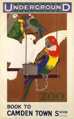 London Underground to the Zoo 1913 art deco vintage repro travel poster - 42 x cm London Underground, Zoo Book, Zoo Project, Zoo Art, London Transport Museum, British Travel, Railway Posters, London Bus, Travel And Tourism
