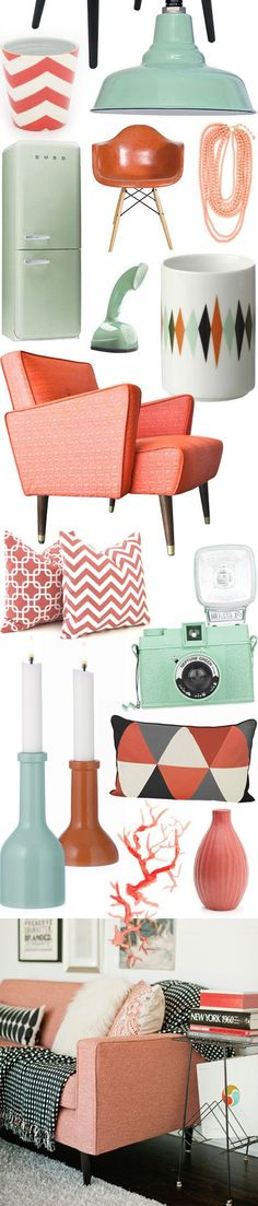 vintage inspired living room ideas-- Color of the Month on LoveNestDesign blog-- June is Coral and July is Mint Green: