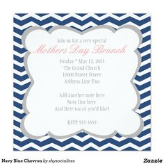 Shop Navy Blue Chevron Invitation created by shysocialites. Brunch Invitations, Custom Invitations, Blue Chevron, Navy Blue, Mothers Day Brunch, White Envelopes, Rsvp, Special Occasion, Backdrops